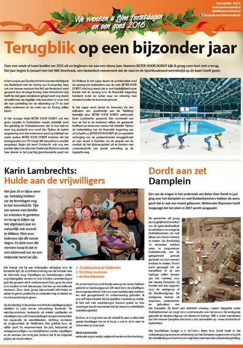 Beter voor Dordt: Nieuwsbrief: Beter Voor Dordt december 2015