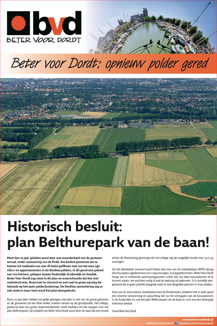 Beter voor Dordt: Beter voor Dordt: opnieuw polder gered