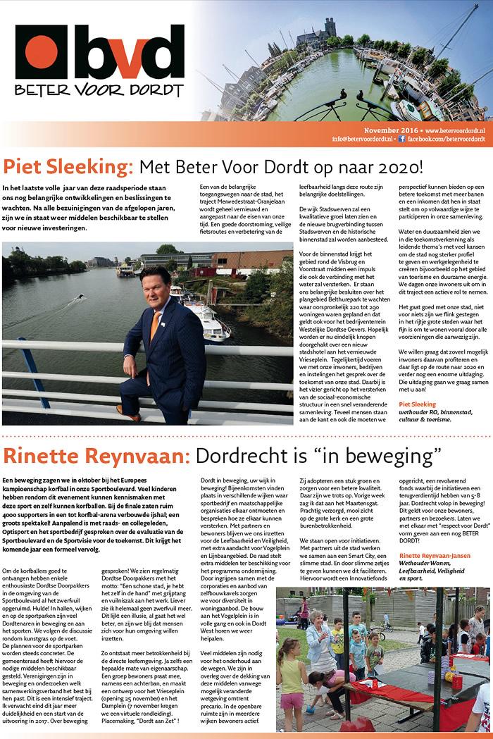 Beter voor Dordt: Nieuwsbrief: Beter Voor Dordt november 2016