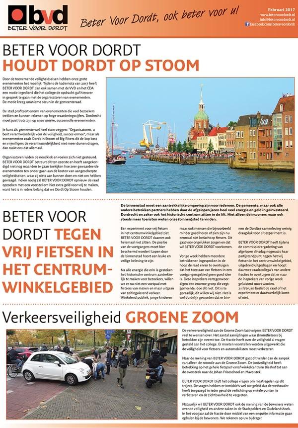 Beter voor Dordt: Nieuwsbrief: Beter Voor Dordt februari 2017
