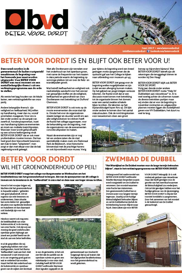 lees verder over Nieuwsbrief: Beter Voor Dordt is en blijft ook beter voor u!